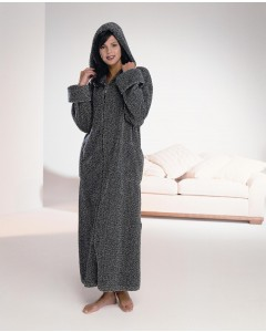 Zip Robe With Hood In Exclusive Speckle Cotton Chenille