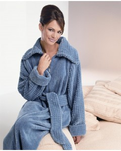Fluffy Cotton Chenille Zip Dressing Gown