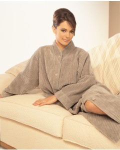 Soft Button Closure Cotton Chenille Dressing Gown In Mink