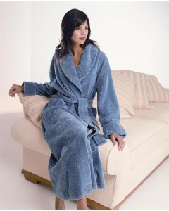 Fluffy Chenille Shawl Collar Wrap Over Dressing Gown